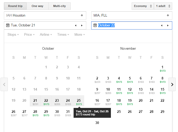 GF Tutorial Lowest Fares Calendar Dates Selected